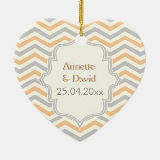 Modern peach, grey, ivory chevron pattern custom ceramic heart ornament