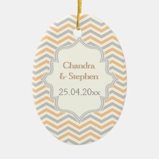 Modern peach, grey, ivory chevron pattern custom ceramic oval ornament