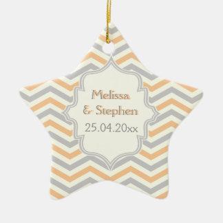 Modern peach, grey, ivory chevron pattern custom ceramic star ornament