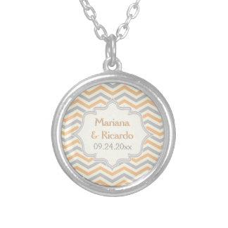Modern peach, grey, ivory chevron pattern custom round pendant necklace