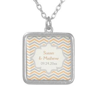 Modern peach, grey, ivory chevron pattern custom square pendant necklace