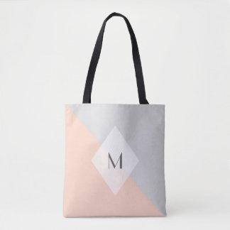 Modern Peach Grey Monogram Tote Bag