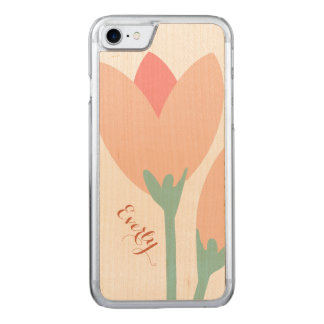 Modern Peach Rose Bud on Wood Carved iPhone 8/7 Case