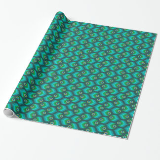 Modern Peacock Feather Pattern Wrapping Paper