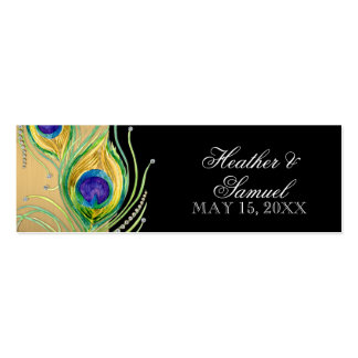 Modern Peacock Feathers Faux Jewel Scroll Swirl Business Card Template