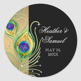Modern Peacock Feathers Faux Jewel Scroll Swirl Round Sticker