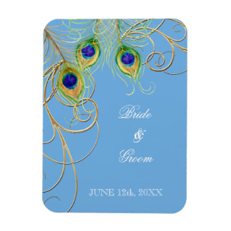 Modern Peacock Feathers Swirl Save the Date Flexible Magnet