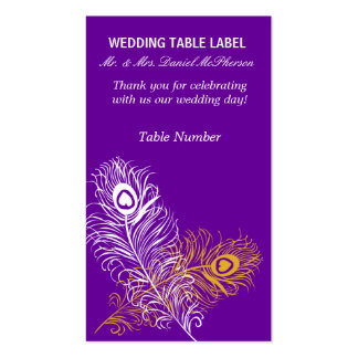 Modern Peacock Weddings  Gold White Feathers Business Card Templates