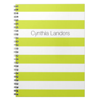 Modern Pear Green Stripes Monogram Notebook