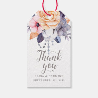 Modern Peonies Floral Wedding Thank You Favor Gift Tags