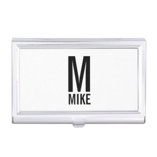 Modern Personalized Bold Monogram and Name Business Card Holder