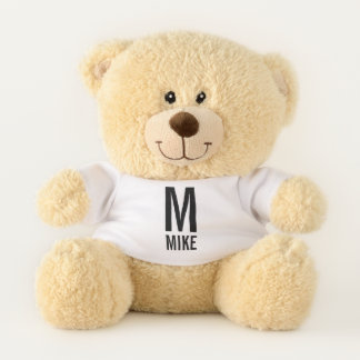Modern Personalized Bold Monogram and Name Teddy Bear