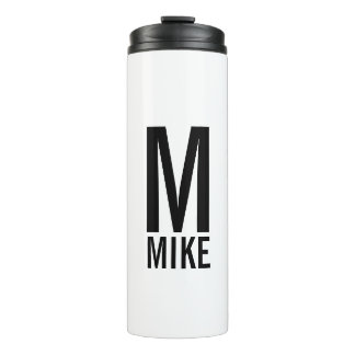 Modern Personalized Bold Monogram and Name Thermal Tumbler