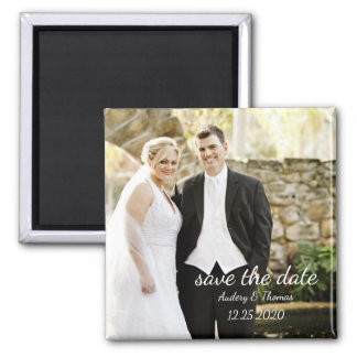 Modern Personalized Custom Photo Save The Date Square Magnet