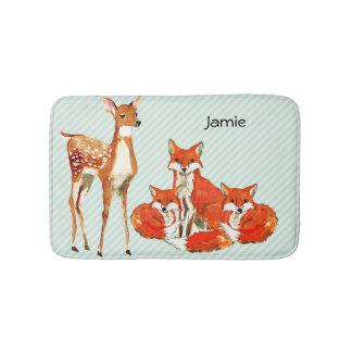 Modern Personalized Fox Deer Childrens Room Bathroom Mat