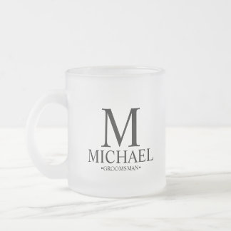 Modern Personalized Groomsman Frosted Glass Coffee Mug