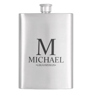 Modern Personalized Groomsman Hip Flask