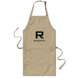 Modern personalized khaki beige bbq apron for men
