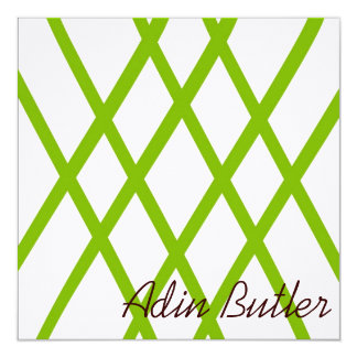 Modern Personalized Lattice in Lime Green Card