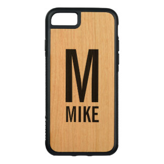 Modern Personalized Monogram and Name Carved iPhone 8/7 Case