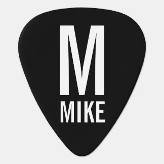 Modern Personalized Monogram and Name Guitar Pick