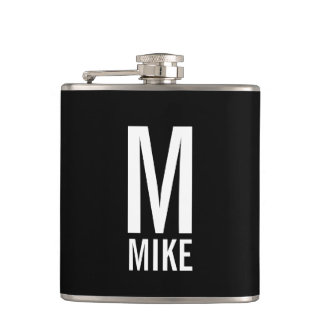 Modern Personalized Monogram and Name Hip Flask