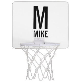 Modern Personalized Monogram and Name Mini Basketball Hoop
