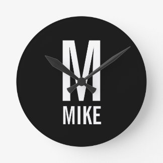 Modern Personalized Monogram and Name Round Clock