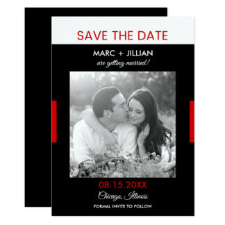 Modern Photo Black and Red Wedding Save the Date Card