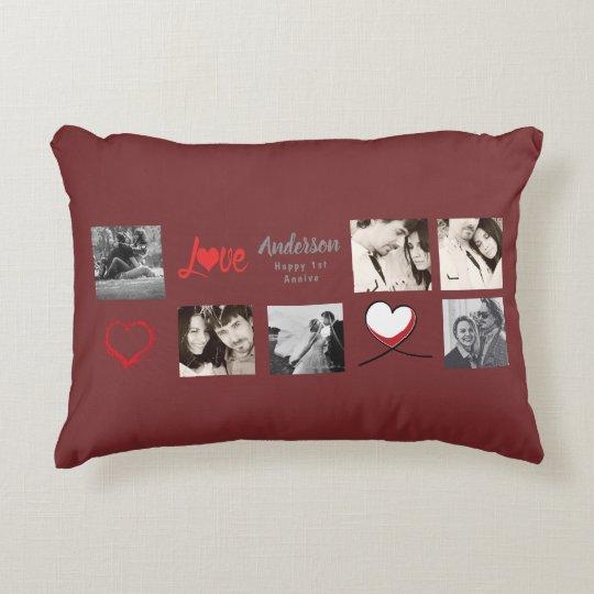 Modern Photo Collage Gift - Wedding, Anniversary Decorative Pillow