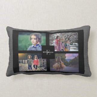 Modern photo collage gray burlap family monogram lumbar pillow