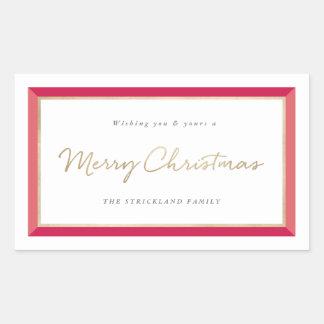 Modern Photo Frame Merry Christmas Label