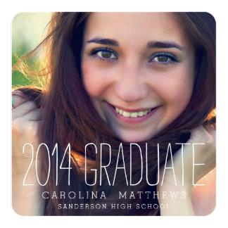 "Modern Photo High School Graduation Party 5.25"" Square Invitation Card"