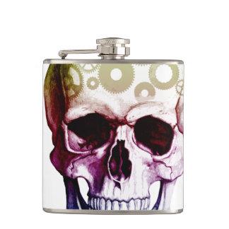 Modern Photo Skull Hip Flask