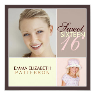 "Modern Photo Square Sweet Sixteen Birthday Party 5.25"" Square Invitation Card"