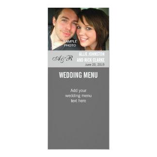 "Modern Photo Wedding Menu Cards 4"" X 9.25"" Invitation Card"