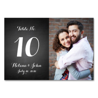 Modern Photo Wedding Table Number Card
