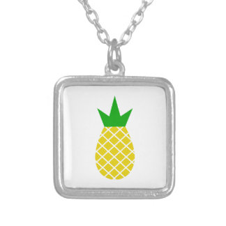 Modern pineapple design silver plated necklace