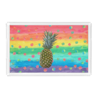 Modern Pineapple Watercolor Stripes and Spots Acrylic Tray