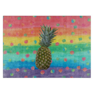 Modern Pineapple Watercolor Stripes and Spots Boards