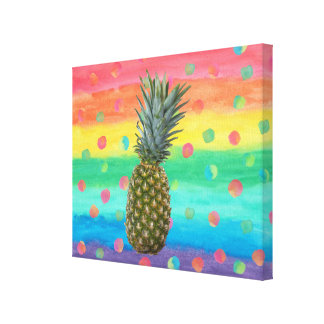 Modern Pineapple Watercolor Stripes and Spots Canvas Print