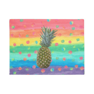 Modern Pineapple Watercolor Stripes and Spots Doormat