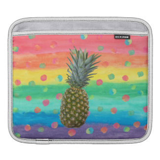 Modern Pineapple Watercolor Stripes and Spots iPad Sleeve