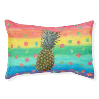 Modern Pineapple Watercolor Stripes and Spots Pet Bed