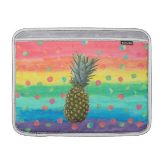 Modern Pineapple Watercolor Stripes and Spots Sleeve For MacBook Air