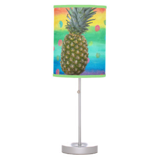 Modern Pineapple Watercolor Stripes and Spots Table Lamp