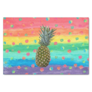 Modern Pineapple Watercolor Stripes and Spots Tissue Paper