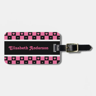 Modern Pink and Black Checkered Hearts With Name Luggage Tag
