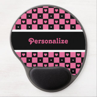 Modern Pink and Black Chequered Hearts With Name Gel Mouse Pad