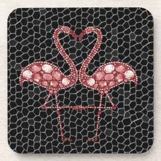 Modern Pink and Black Flamingo Abstract Coaster
